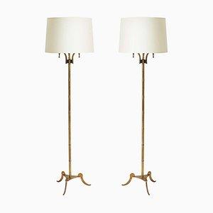 Messing Stehlampen von Maison Jansen, 2er Set