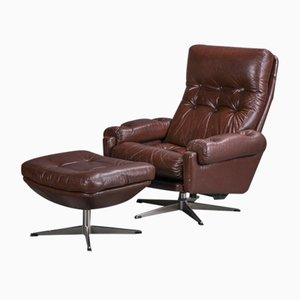 Scandinavian Leather Swivel Chair and Footstool from Lystolet, Set of 2