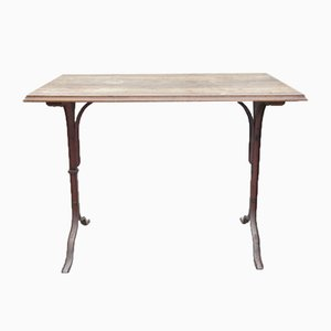 Metal and Walnut Wood French Bistro Tables, Set of 4