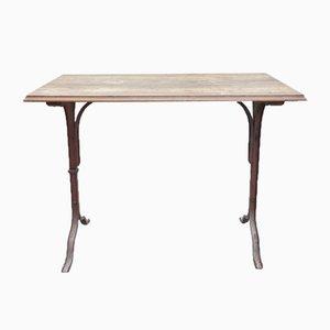 Tavoli da bistrò in metallo e legno di noce, Francia, set di 4