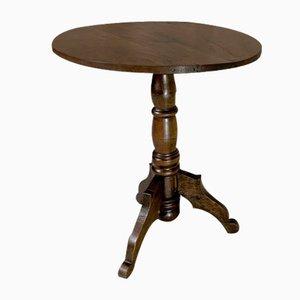 Solid Walnut Wood Circular Gueridon Side Table
