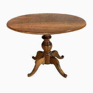 Walnut Wood Gueridon Pedestal Side Table