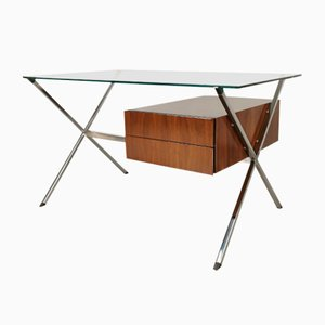 Mid-Century Glass Iron and Walnut Desk by Franco Albini for Knoll Inc. / Knoll International, 1950s