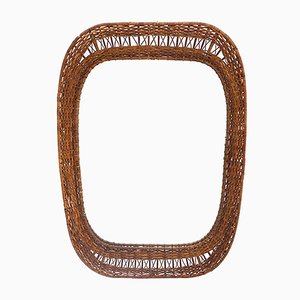 Mirror with Woven Rattan Frame, 1950s
