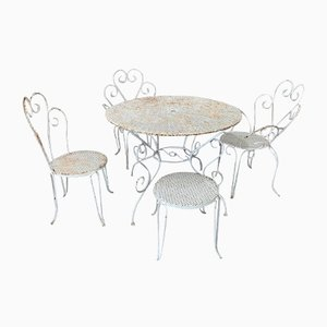 White Metal Garden Circular Table with Chairs, Set of 5