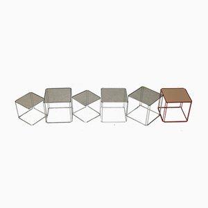 Mesas de latón, acero y vidrio de Max Sauze Studio, France, años 70. Juego de 6