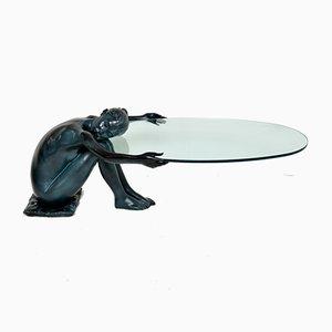 Skulpturaler Vintage Eisen Couchtisch aus Glas