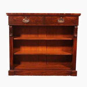 Offenes Bücherregal aus Mahagoni mit zwei Schubladen, 19. Jh