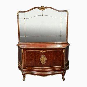Comò Luigi XV con ante in mogano e dettagli dorati