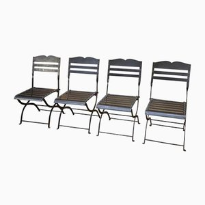 Folding Chairs in Metal, 1950s, Set of 4