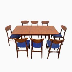 Ausziehbarer Tisch & Teak Stühle, Dänemark, 1960er, 9er Set