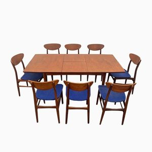 Extendable Table & Teak Chairs, Denmark, 1960s, Set of 9