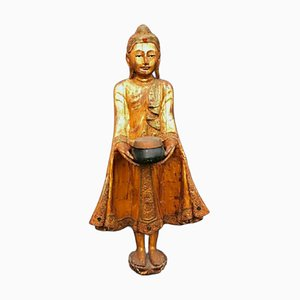 Thai Carved Wood Statue of a Buddha