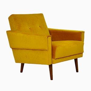 Mid-Century Yellow Velvet Armchair, 1960s