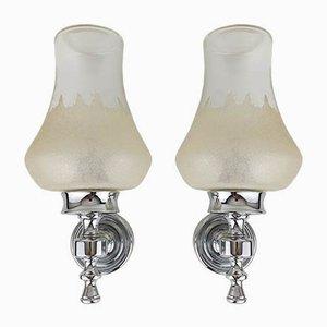 Wandlampen aus Glas & Chrom von Kueco, 1970er, 2er Set