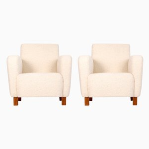 H - 282 Armchair with Footstool by by Jindrich Halabala for Up Závody, 1940s, Set of 2