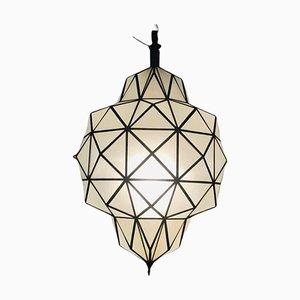 Lámpara de araña, colgante o farol estilo Art Déco en forma de cúpula de cristal blanco