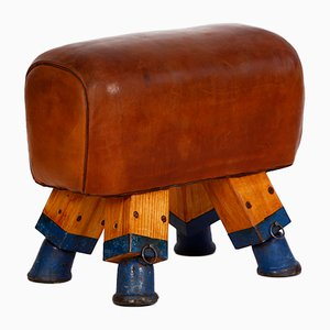 Leather Vaulting Horse or Stool, 1930s