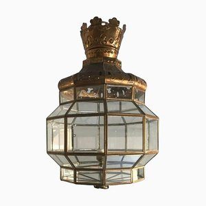 Brass and Crystal Ceiling Lamp