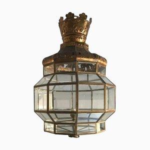 Lampada da soffitto in ottone e cristallo