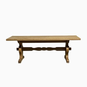 French Bleached Oak Farmhouse Trestle Dining Table
