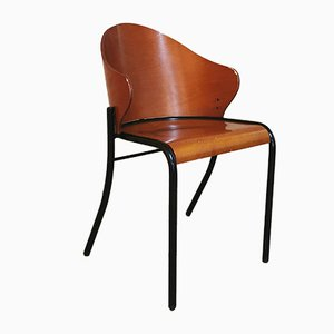 Dining Chairs in Enameled Metal and Curved Wood, Italy, 1960s, Set of 5