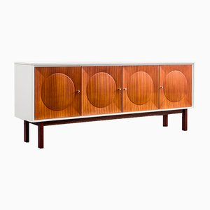 White Mahogany Sideboard with Relief Doors, 1970s