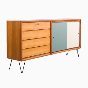 Cherry Wood Sideboard with Colored Turning Doors, 1960s