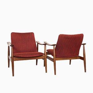 Mid-Century Danish Model 138 Easy Chairs by Finn Juhl for France & Søn, Set of 2