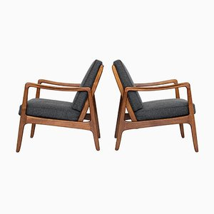 Mid-Century Danish Easy Chairs in Beech by Ole Wanscher for France & Daverkosen, Set of 2