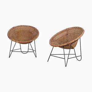 Mid-Century Light Brown Rattan Basket Chairs, Set of 2