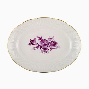Oval Serving Dish in Hand Painted Porcelain with Purple Flowers from Meissen