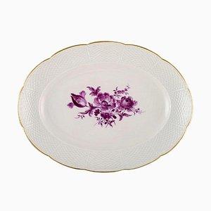 Plat de Service Ovale en Porcelaine Peinte à la Main avec Fleurs Violettes de Meissen