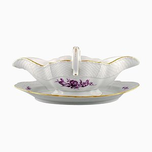 Sauce Boat in Hand Painted Porcelain with Purple Flowers from Meissen