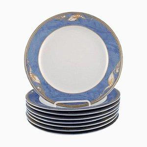 Assiettes à Déjeuner Magnolia de Royal Copenhagen, Fin 20ème Siècle, Set de 9