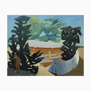 Figuren in einer surrealistischen Landschaft von Lucien Coutaud, 1931