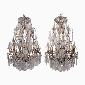 Glass & Bronze Chandeliers, Italy, Late 19th-Century, Set of 2