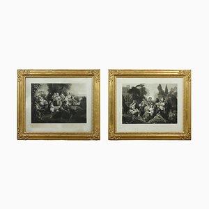 Pinturas, mediados del siglo XIX, enmarcadas. Juego de 2