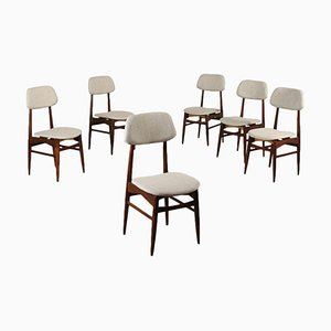 Beech & Fabric Chairs, Italy, 1960s, Set of 6