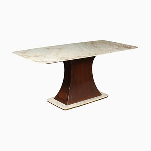 White Marble, Brass & Wood Table, Italy, 1950s