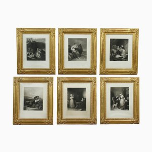 Paintings, Mid-19th-Century, Framed, Set of 6