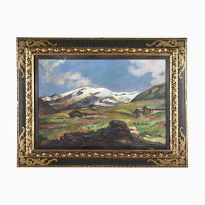 Luigi Bini, Landschaftsmalerei, Öl auf Leinwand, gerahmt