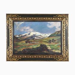 Luigi Bini, Peinture de Paysage, Huile sur Toile, Encadrée