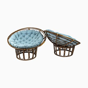 Papasan Lounge Chairs in Rattan and Quilted Fabric, 1970s, Set of 2