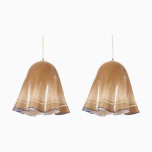 Large Zenda Murano Glass Pendant Lamps by Luciano Vistosi, Italy, 1965, Set of 2