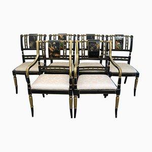 Chinesische handbemalte Stühle mit lackiertem Lack, 6er Set