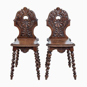 19th Century Carved Oak Hall Chairs, Set of 2