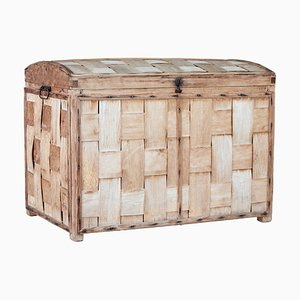 19th Century Woven Pine Dome Top Trunk