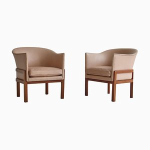 Lounge Chairs in Mahogany and Leather by Mogens Koch for Rud Rasmussen, 1950s, Set of 2