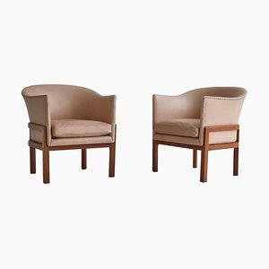Sessel aus Mahagoni & Leder von Mogens Koch für Rud Rasmussen, 1950er, 2er Set